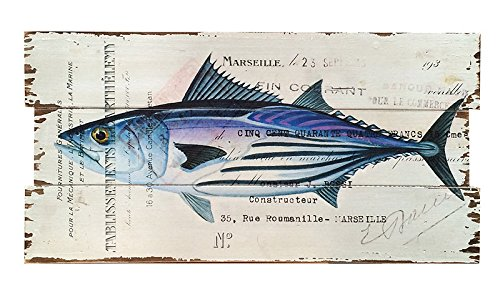 wohnzimmer maritim einrichten holzbild fisch